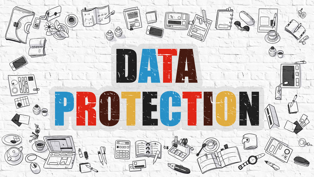 Data Protection Concept. Modern Line Style Illustration. Multicolor Data Protection Drawn on White Brick Wall. Doodle Icons. Doodle Design Style of Data Protection Concept.