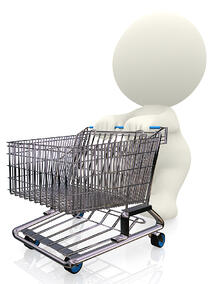 3D person pushing a shopping trolley - isolated over white