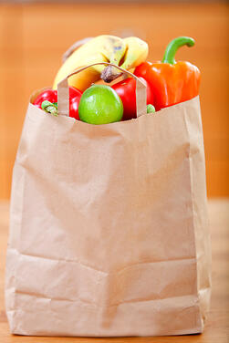 Shopping bag full of fruits and vegetables