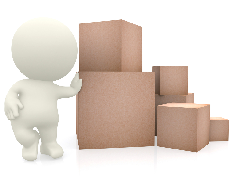 3D man with hand on top of cardboard boxes isolated over a white background