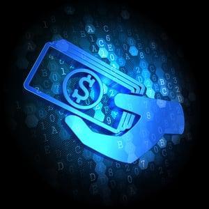 Blue Icon of Money in the Hand on Dark Digital Background.