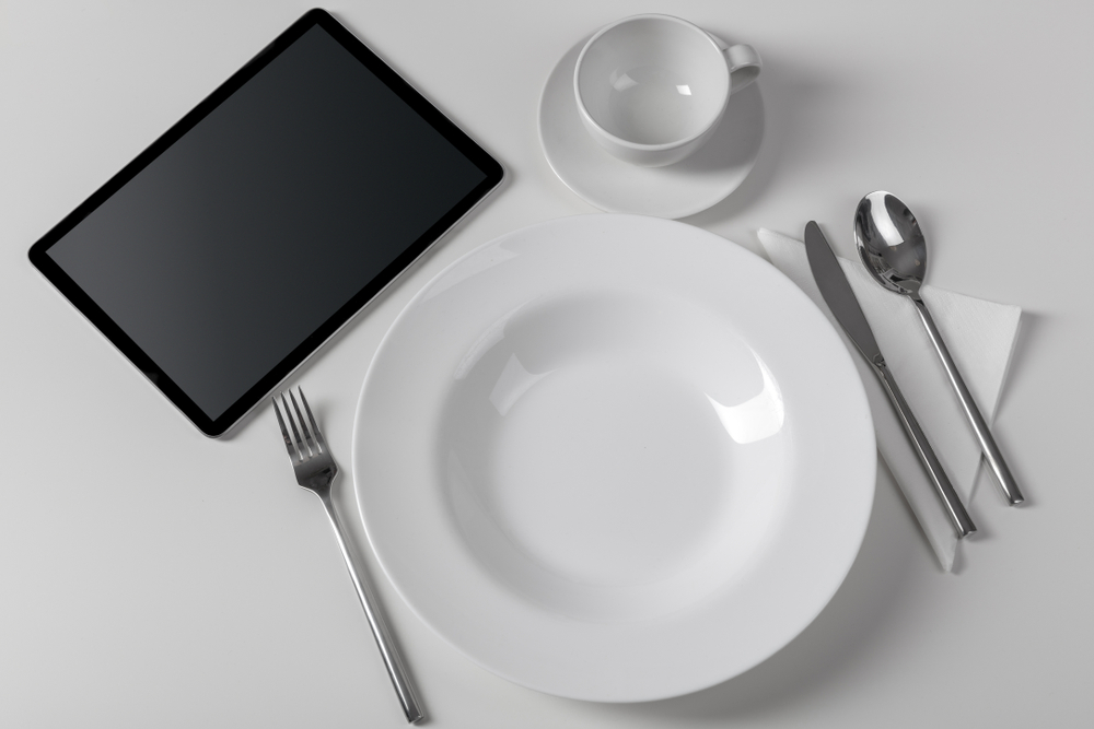 Stylish tableware with tablet concept